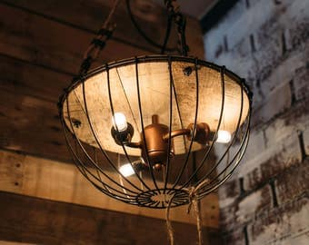 Chandelier Cage Light Reclaimed Wood and Copper Fixture