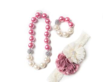 Mauve necklace, pink bubblegum necklace, little girl necklace, chunky bead necklace, bubble gum necklace, toddler necklace, baby necklace
