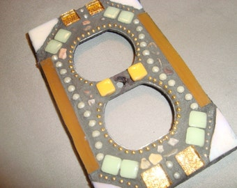 MOSAIC Electrical Outlet COVER , Wall Plate, Wall Art, Brown, Iridescent White,