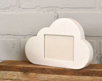 Cloud Shape Wallet Size Picture Frame in Finish COLOR of YOUR CHOICE - 2.5 x 3.5 inch Landscape Wallet Table Top Picture Frame