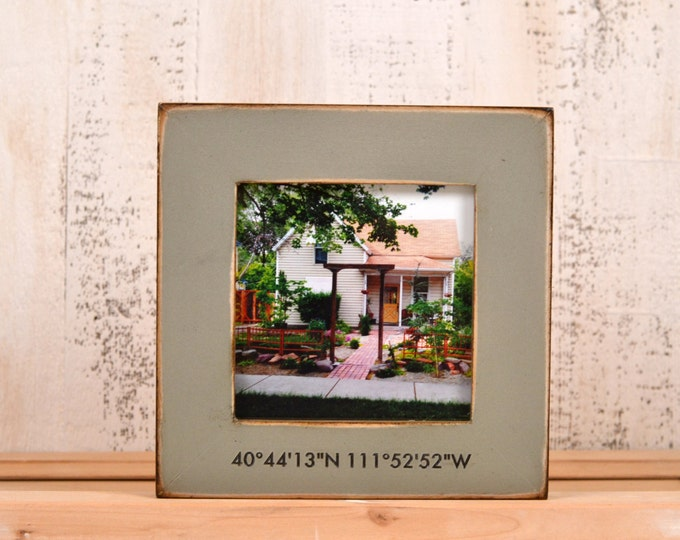 5x5 Coordinates Frame Custom Engraved in Finish COLOR of YOUR CHOICE - Picture Frame Romantic Custom Engraving Square 5 x 5 Location Frame