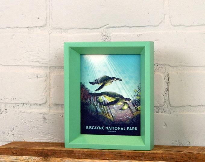 Biscayne National Park Framed Postcard - Florida Travel Gift Frame - Solid Robin's Egg Finish Park Slope Style - IN STOCK Same Day Shipping