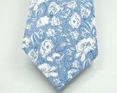 Floral Necktie Dusty Blue Necktie Blue Necktie Mens Necktie Custom Neckties Wedding Neckties