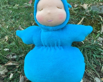 Organic Waldorf Doll Weighted Squeezy Baby Bunting Doll 10 inch Noble Waldorf Inpspired Doll