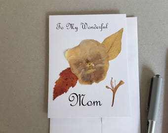Pressed flower art greeting card - Dried flower note card - Pressed flower card - Happy Mother's day card