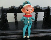Vintage Elf Rubber Toy Made in Japan Christmas Decor