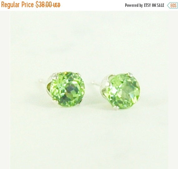 Valentines Day Sale Peridot Earrings Studs Sterling Silver 5mm Round 1.10ctw Natural Untreated