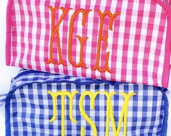 Gingham monogram cosmetic bag BLUE