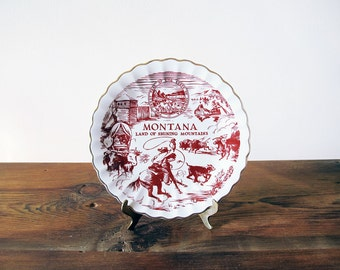 Vintage Montana Plate Decorative Wall Hanging Land of Shining Mountains