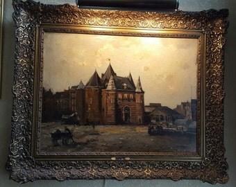 Antique Cornelis de Bruin Framed Dutch Oil on Canvas Painting