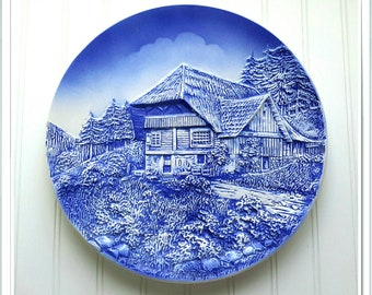 Western Germany Plate c.1940 Beautiful Blue Relief Ceramic Plate with Country Scene