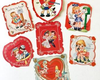 Vintage 1940s Valentine's Day Folded Cards Set of 7 USED / Collectible Ephemera, Animals Anthropomorphic Boys Girls