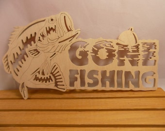 LARGEMOUTH BASS in Gone FISHING Scroll Saw Plaque Without Backing