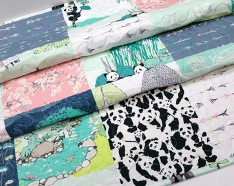 Baby Quilt Handmade-Panda Bear Baby Quilt-Modern Asian Girl Crib Bedding-Mint-Pink-Navy Blue-Arrows-Teepees-Handmade Patchwork Quilt