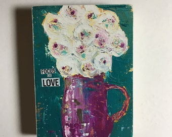 Flower art block,ACEO  Reproduction Mounted On Wood Block by Sunshine Girl Designs (2.5 x 3.5 Inches Print) focus on love, teals and purples
