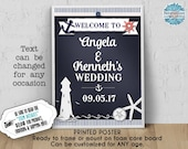 PRINTED Welcome Sign, 11x14, 16x20, 18x24, Bridal, Baby Shower, Birthday, Wedding, Nautical Sea Theme, Navy, Chalkboard Look, Ready to Frame
