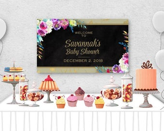 """Vinyl Welcome Banner, 36""""x20"""", 48""""x30"""", Watercolor Florals Flower Design, Birthday Party, Bridal Shower, Baby Shower, Table Backdrop"""