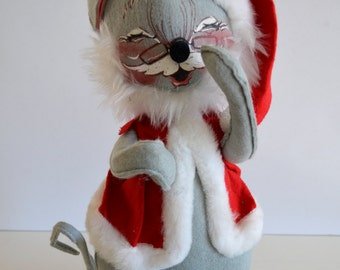 """Vintage Annalee Santa Claus Mouse Doll 12"""" With Glasses 1986"""