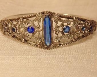 Victorian Sterling Blue Stone Bracelet Openwork Sterling Art Nouveau Sterling Bangle Sterling Bracelet F.N. CO