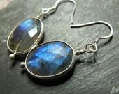 Labradorite earrings - Sterling silver - bezel set earrings - labradorite jewellery - drop earrings -