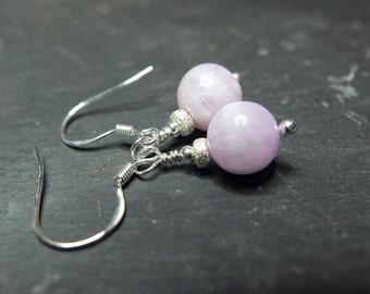 Pink kunzite and stardust sterling silver earrings, delicate drop earrings, genuine natural kunzite
