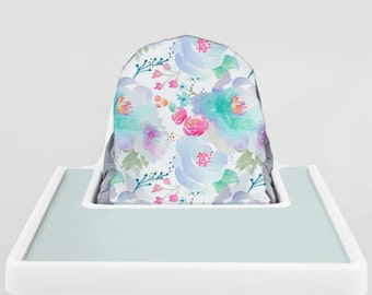 Blue Blooms // IKEA Antilop Highchair Cover // High Chair Cover for the PYTTIG Cushion // Pillow Slipcover