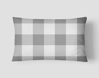 """Grey Buffalo Check // Decorative Pillow Cover 12""""x18"""" // Lumbar Pillow // Rectangular Throw Pillow"""