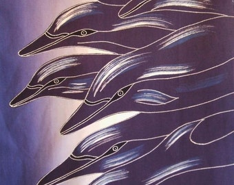 """Racing Dolphins Blue Ocean 18"""" x 27"""" Indonesian Hand Dyed Cotton Batik Panel"""