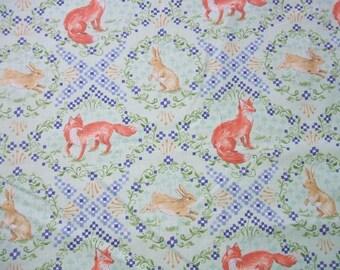 Wildwood Fox and Hare Rabbit Diamond Cotton Ana Davis Designs Blend Fabric LLC Yard