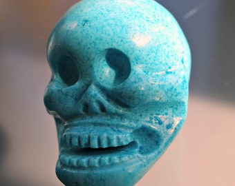 Carved Turquoise Stone Big Skull Bead