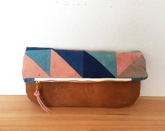Organic Cotton Quilted Fold Over Clutch