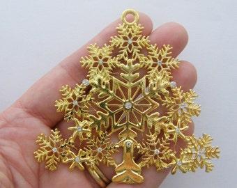 1 Christmas tree pendant gold plated snowflake design