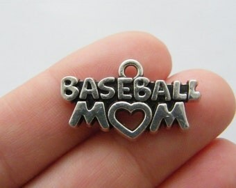 4 Baseball mom charms antique silver tone M841