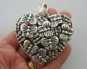 1  Butterfly heart pendant antique silver tone M900