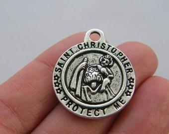 BULK 10 Saint Christopher Protect me charms antique silver tone R113