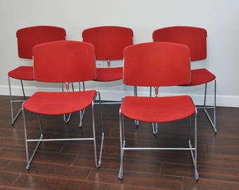 Steelcase MCM Chrome and Red Stacking Dining Chairs-Vintage Chrome Steelcase Set of 5 Chairs-Max Stacker Chairs