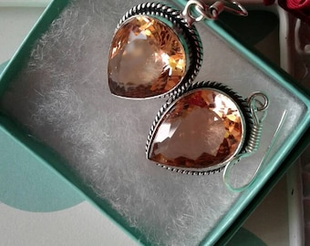 Peach Quartz Earrings,Crystal Glass Earrings