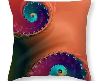 Throw Pillow - LIFE'S JOURNEY decorative cushion, boho style, vibrant colors, spiral fractal design, home decor for spring and summer