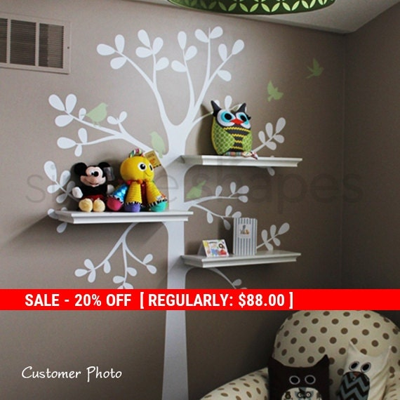 Holiday Sale - Wall Decals Baby Nursery Decor: Shelving Tree Decal with Birds - Original Wall Decal