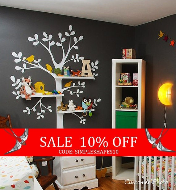 Sale - The ORIGINAL Shelving  Tree with Birds - LARGE  Kids Vinyl Wall Sticker Decal Art