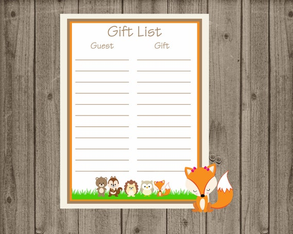 Baby Gift List : Woodland baby shower gift list printable