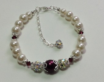 Wine Pearl and Crystal Bridesmaid Bracelet