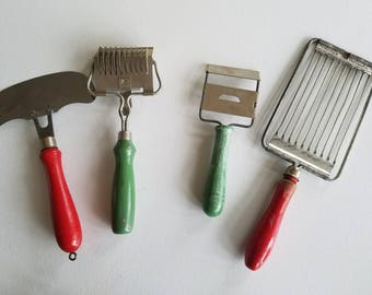Four Wood Handle Kitchen Accessories/ Tools/ Cutters