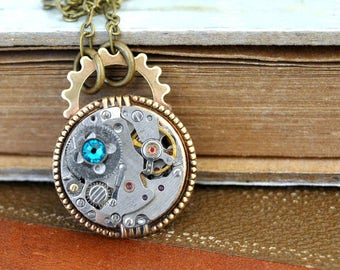 steampunk necklace TINY TIME PIECE  vintage watch movement necklace with brass gear and steel chain