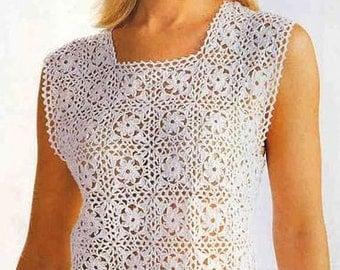 Vintage crochet pattern Ladies Top/Vest/Tunic - Immediate download