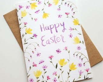 Happy Easter Hand Painted Watercolor Greeting Card