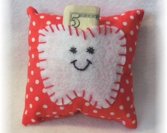 Tooth Fairy Pillow Handmade Tooth Pillow Tooth Holder Tooth Fairy Pillows Handmade Fabric Tooth Pillow with Felt Tooth Pocket