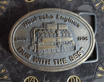 vintage automotive belt buckle, by Waukesha Engines