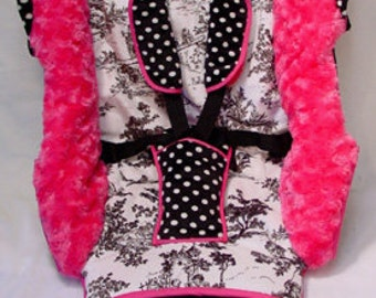 Gorgeous Black Toile Hot Pink Polka Dot Stroller Cover