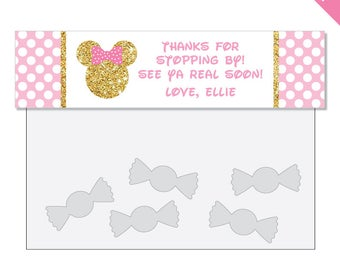 Gold Minnie Mouse Party - Personalized DIY printable treat bag label